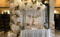 baby shower table decorations & balloons